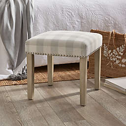 Bee & Willow™ Home Ava Upholstered Gingham Ottoman in Sage Grey