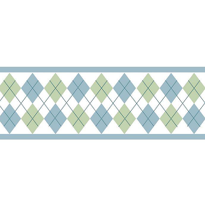 Alternate image 1 for Sweet Jojo Designs Argyle Wallpaper Border in Blue/Green