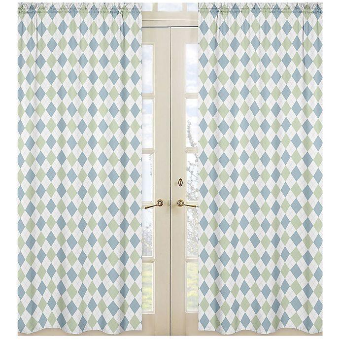 Alternate image 1 for Sweet Jojo Designs Argyle Window Panel Pair in Blue/Green