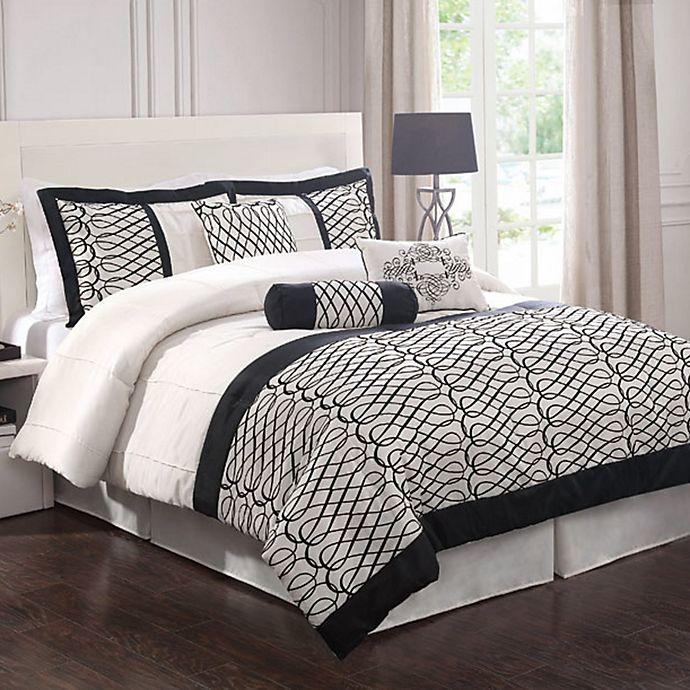 Alternate image 1 for Flocked Bows 7-Piece Comforter Set