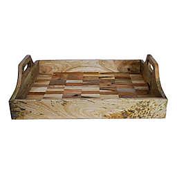 Jodhpuri™ Mixed Wood 21.5-Inch Handled Serving Tray