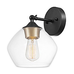 Globe Electric Harrow 1-Light Wall Sconce in Matte Black with Gold Accents
