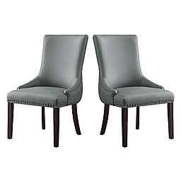 Inspired Home Calvin Faux Leather Upholstered Dining Chairs (Set of 2)