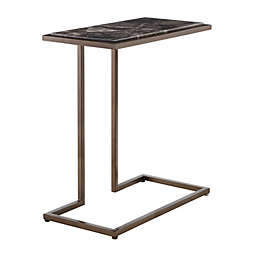 Madison Park Norris Accent Table in Dark Brown/Antique Bronze