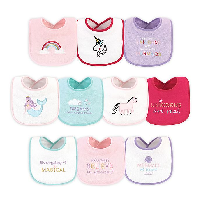 Alternate image 1 for Luvable Friends® 10-Pack Magical Drooler Bibs in Pink/Purple