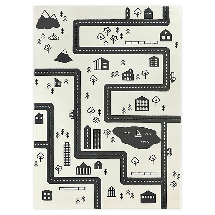 Alternate image 1 for Hearthstone Adventure Road 5'3 x 7' Area Rug in Ivory/Black