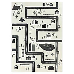 Hearthstone Adventure Road 5'3 x 7' Area Rug in Ivory/Black
