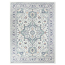 Destination Summer Miami Border Indoor/Outdoor Rug in Aqua