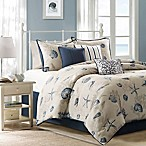 Madison Park Bayside 7-Piece Queen Comforter Set in Blue