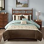 Madison Park Serene 7-Piece Queen Comforter Set in Blue