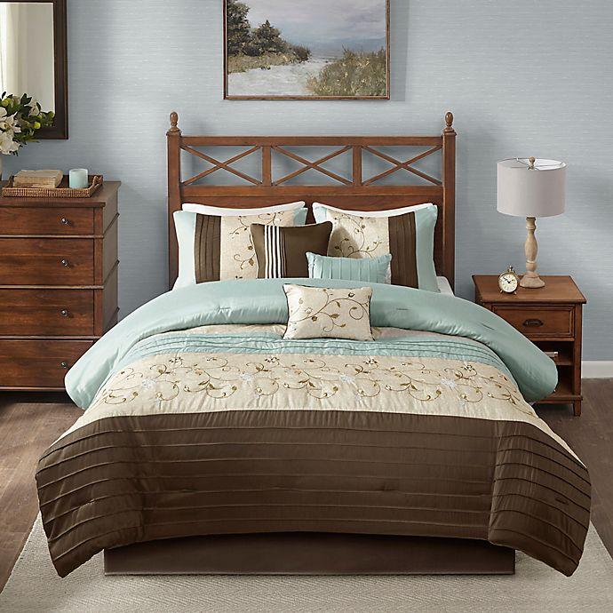 Alternate image 1 for Madison Park Serene 7-Piece Queen Comforter Set in Blue