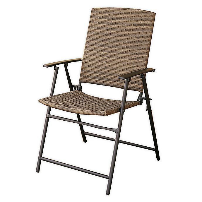 Alternate image 1 for Barrington Wicker Folding Patio Chair in Natural Brown