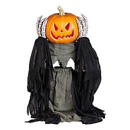 Animated Head Lifting Pumpkin Reaper Halloween Decoration