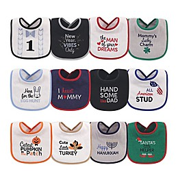 Hudson Baby® 12-Pack Holiday Drooler Bibs for Boys