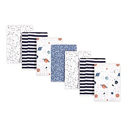 Hudson Baby® 7-Pack Space Burp Cloths in White
