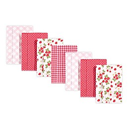 Hudson Baby® 7-Pack Flannel Berries Burp Cloths in Pink