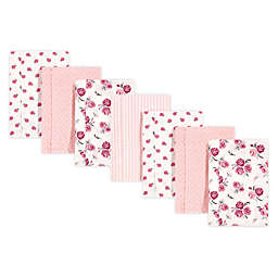 Hudson Baby® 7-Pack Rose Flannel Burp Cloths in Pink