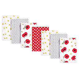 Hudson Baby® 7-Pack Daisy Flannel Burp Cloths in Red