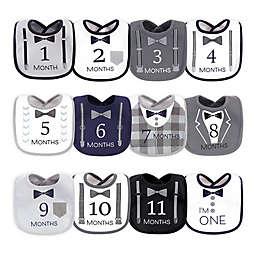 Hudson Baby® 12-Pack Milestone Drooler Bibs in Black/White
