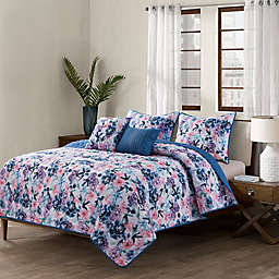 Sara B. 5-Piece Rose Indigo Quilt Set