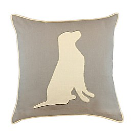Faux Linen Square Throw Pillow in Sand/Ivy