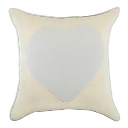 Faux Linen Square Throw Pillow in Blue/Ivy