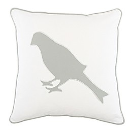 Appliqued Bird Square Throw Pillow in White/Grey