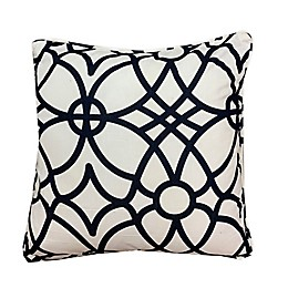Appliqued Square Throw Pillow in Navy/White
