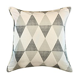 Appliqued Square Throw Pillow in Grey/Beige