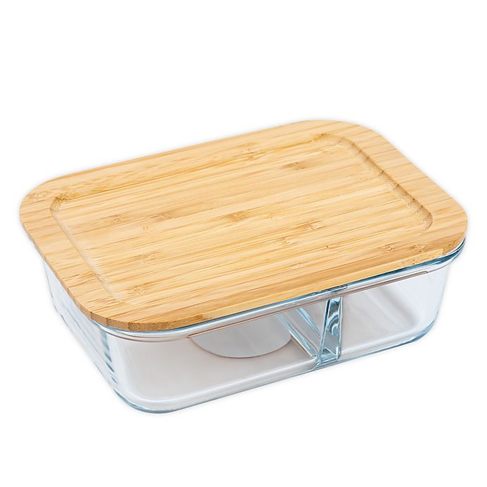 Alternate image 1 for Core Kitchen™ Divided 32-Ounce Glass Food Storage Container