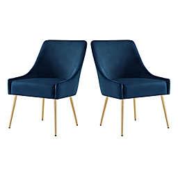 Inspired Home Perla Velvet Upholstered Dining Chairs in Navy (Set of 2)