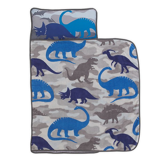 Alternate image 1 for Everything Kids by Nojo® Dinosaurs Toddler Nap Mat in Blue/Grey