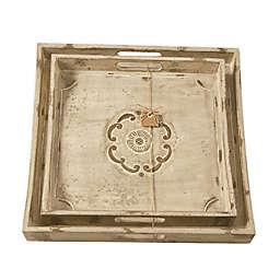 Mud Pie® Engraved Floral Wood Trays in Brown (Set of 2)