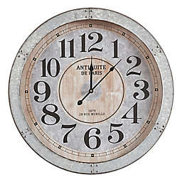 Madison Park Austin Round 23.5-Inch Wall Clock in Antique Silver