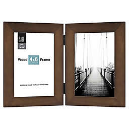 SALT™ 2-Photo 4-Inch x 6-Inch Hinged Wood Picture Frame in Walnut