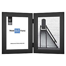 SALT™ 2-Photo 5-Inch x 7-Inch Hinged Wood Picture Frame in Black