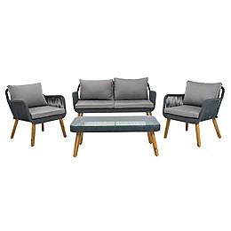 Safavieh Aldric 4-Piece Acacia Patio Furniture Set in Grey