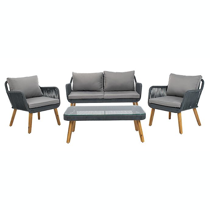 Alternate image 1 for Safavieh Aldric 4-Piece Acacia Patio Furniture Set in Grey