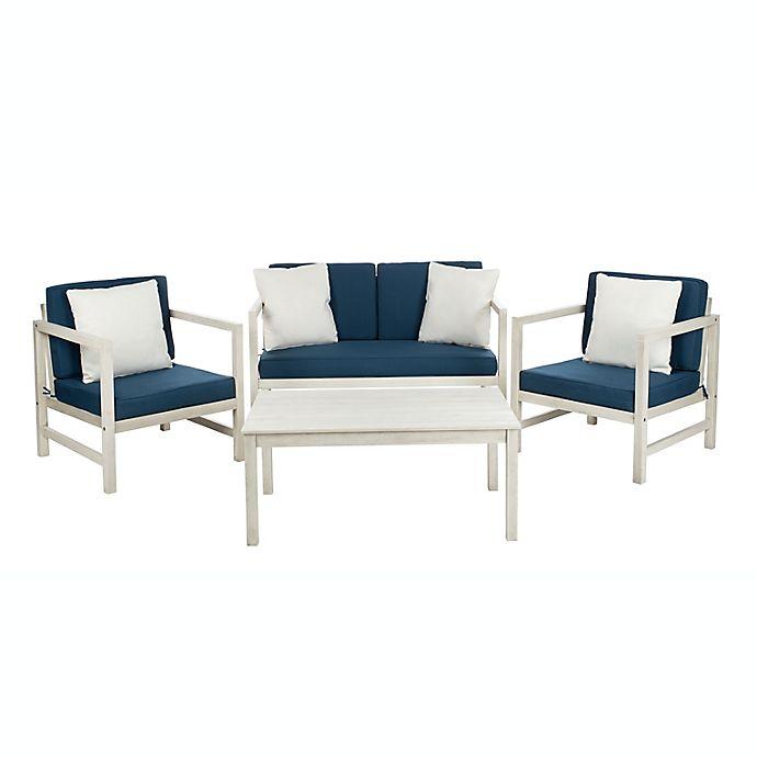 Alternate image 1 for Safavieh Montez 4-Piece Wood Patio Furniture Set in White/Navy
