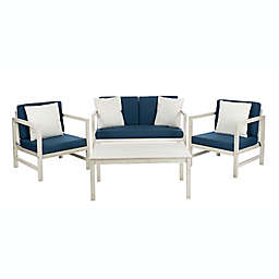 Safavieh Montez 4-Piece Wood Patio Furniture Set in White/Navy