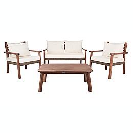 Safavieh Reid 4-Piece Acacia Patio Furniture Set in Beige/Grey