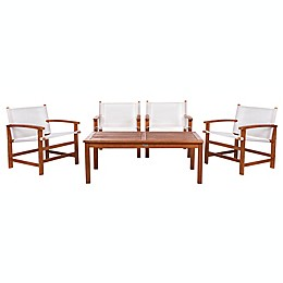 Safavieh Mardin 5-Piece Eucalyptus Patio Dining Set in Natural/Beige