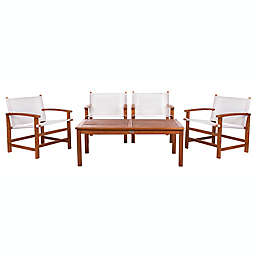 Safavieh Mardin 5-Piece Eucalyptus Patio Conversation Set in Natural/Beige