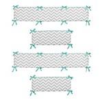 Sweet Jojo Designs Zig Zag Chevron Crib Bumper in Turquoise/Grey