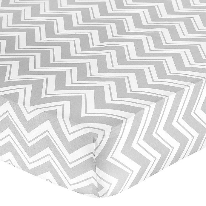 Alternate image 1 for Sweet Jojo Designs Zig Zag Chevron Crib Sheet in Grey