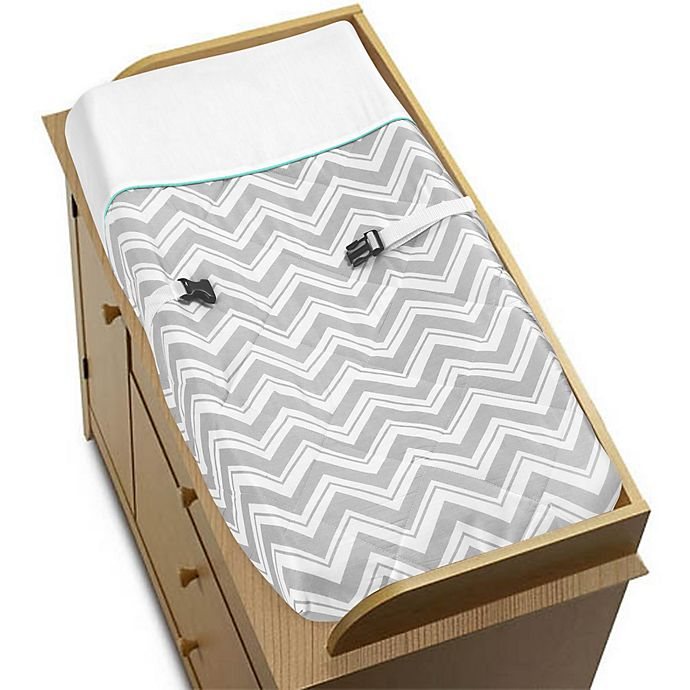 Alternate image 1 for Sweet Jojo Designs Zig Zag Chevron Changing Pad Cover in Turquoise/Grey