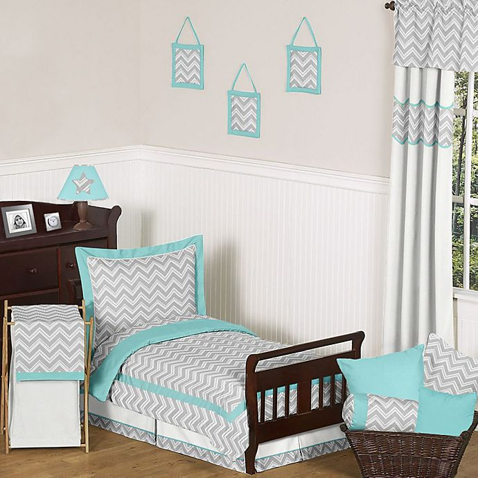 Alternate image 1 for Sweet Jojo Designs Zig Zag 5-Piece Toddler Comforter Set in Turquoise/Grey