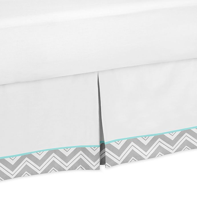 Alternate image 1 for Sweet Jojo Designs Zig Zag Tailored Bed Skirt Turquoise/Grey