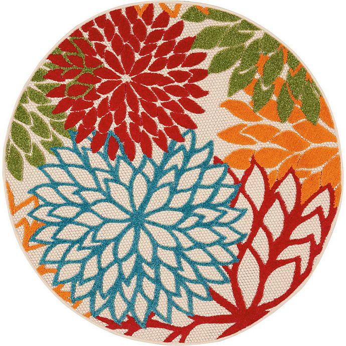 Alternate image 1 for Nourison™ Aloha Floral Burst 4' Round Indoor/Outdoor Area Rug in Green