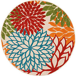 Nourison™ Aloha Floral Burst 4' Round Indoor/Outdoor Area Rug in Green